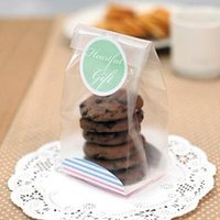 bakery trays - 100 Semi Clear Cookie Bags With Stripe Paper Tray for Gift Bakery Food Packaging Decoration