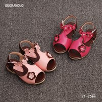 Wholesale 2016 new girls sandals Korea Rhinestone flowers girl fish head shoes Flat shoe summer pink peach shoe for toddler PU anti skidding
