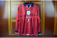 alan longing - Sport Retro Jerseys world cup England away red long sleeves LS jerseys Owen Scholes CAMPBELL Adams Alan Shearer Ince Beckham