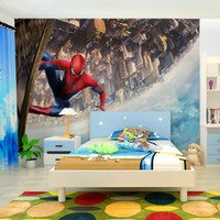 Wholesale Spider man D the building of the sky and the background of the sky wallpaper KTV tea bar the factory direct delivery speed