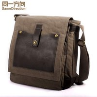 Wholesale TSD brand fashion casual Briefcases bags men shoudler bags with leatehr patchwork canvas bags khaki