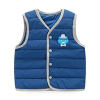 Wholesale Children Vest Baby Kids Waistcoat Winter Jacket Boys and Girls Warm Outwear Autumn Clothes White Duck Down Padded