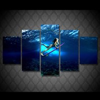 abstract landscape acrylic paintings - 5 Panel HD Printed Girl surfing Painting on canvas room decoration print poster picture canvas abstract acrylic paintings art