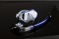 Wholesale Dry Snorkel Snorkeling Diving Glasses Underwater Breathing Tube Toughen Glass Ultra Soft Silicone Safety Explosionproof Scuba Fins Equipment