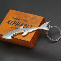 Wholesale 100pcs in Shark Shape Bottle Opener Alloy Keychain And Opener Creative Fish Keychain Beer Opener Keyring Can Openers