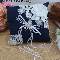 Wholesale 21cm x cm Wedding Ring Pillow with Rhinestones Decorative Pillows with Lace Flowers Ribbon Bowknot Pearls for Decoration