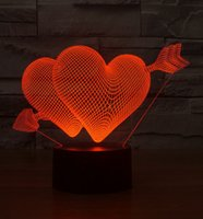 Wholesale New D LED Night lights Double LOVE Heart Shape night light colors Wall Lamps for Wedding Party Children table lamp