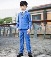 Wholesale Children Formal Suit For Wedding Boy Tuxedo Jacket Trousers Vest Outfit Kids Blazer Gentleman Classic Set
