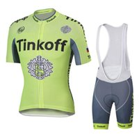 Wholesale 2016 Tinkoff Saxo Bank Fluo Light Tour De France Cycling Jerseys set Short Sleeves Bike Wear Gel Padded XS XL Quick Dry bike Clothes