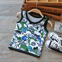 Wholesale Cute Boy Tank Top - 2016 Kids Clothes for Boys Girls Cartoon Print Camouflage Vest Cotton T Shirts Kids Clothing for 24M-4Y Toddler Cute Tank Tops 8 Patterns