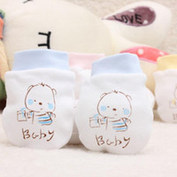 Wholesale Newborn Baby Mittens Cute Baby Scratch Mittens Infant Baby Gloves for months Baby Supplies Shipping