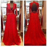 al pipe - Sparkly Beaded Red Evening Dresses Deep V Neck Backless Sexy Fomal Prom GOwns AL ine Long Sleeves Celenrity Party Gowns