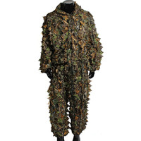 Wholesale Utility Hunting Camo Camouflage Clothing Leafy Woodland Hunting Camo Jungle Suit Set D Leafy Ghillie Suit For Hunting
