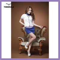 Wholesale Sexy Policewoman Uniform Sexy Police Costume Short Sleeve White Shirt and Blue skirt suit Free size