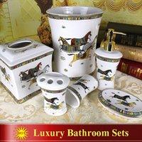 Wholesale Porcelain bathroom sets ceramic bathroom sets god horse design white glazed bathroom sets pieces housewarming gifts