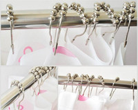 Wholesale 12pcs set Shower Curtain Hooks Stainless Steel Polished Chrome ring A017