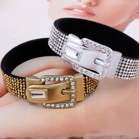 Wholesale Fashion Design Men Women Cuff Bracelet Crytal Leather Bangles Jewelry Hip Hop Rock Cuff Bracelets Bangles