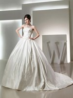 ball return - Strapless Bead Appliques Cathedral Train Ball Gown Vintange Sash Winter Wedding Dresses Ivory Satin Cheap No Tax Easy Returns