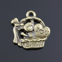antique tin toys - 80pcs mm Antique Bronze Plated gift basket with toy bear Charms