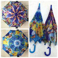 Wholesale poke Umbrella Cartoon pikachu children Umbrella cm Kids Rain Gear kids cartoon Umbrellas Students sunshade Umbrellas KKA671