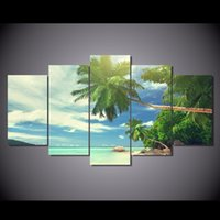CordPhone beach prints posters - 5 Set HD Printed Beach palm beach clouds Painting Canvas Print room decor print poster picture canvas NY