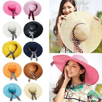 Wholesale Women Girl Floppy Derby Folding Straw Wide Large Brim Sun Summer Beach Hat