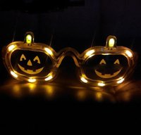 Wholesale 2016 New Halloween LED Pumpkin Glasses Flashing Glasses Light Party Glow Halloween Glasses Hot Sale