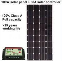 Panneau solaire monocristallin 100W + contrôleur solaire 30A, connecteurs MC4 et boîte de jonction pour charge directe de la batterie 12v