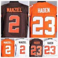 Wholesale Mens Joe Haden Jersey Johnny Manziel Jersey Elite Stitched Embroidery Football Jerseys Orange White Size S XL