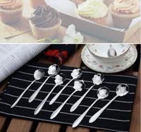 sugar flowers - Tableware Flower Shape Sugar Stainless Steel Silver Tea Coffee Spoon Teaspoons Ice Cream Flatware Kitchen Tool