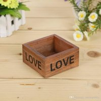 Wholesale 50pc retro wooden storage box do old Square Flowerpots fleshy Containers Wooden home decor free ship