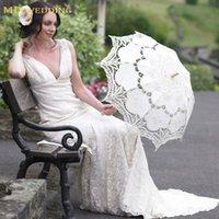Wholesale New Lace Umbrella Cotton Embroidery Wooden handle Lace Parasol Umbrella Bridal Wedding Umbrella Decorations