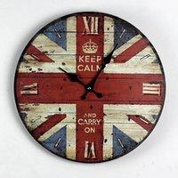 Wholesale Zakka Nostalgia British Style British Flag Wood Wall Clock Kitchen Electronic large Decorative Wall Clocks Gifts Home Decor CM