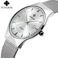 Wholesale 2016 Luxury Brand Ultra Thin Date Casual Quartz Watch Men Waterproof Sport Watches Male Silver Steel Strap Wrist Watch Men Clock