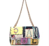 bags new look - The new limited edition small sweet female bag canvas stitching embroidery rainbow graffiti runway looks chain shoulder bag