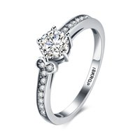 Wholesale Women s Love Platinum plated Round Cubic Zirconia Wedding Promise Engagement Simple Ring Mix Order Size Avivahc