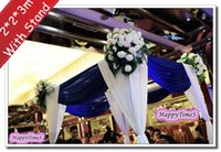 banquet wedding halls - 2 m Luxury Wedding Outdoor Decorations Canopy Curtain With Royal Blue Swags Banquet Reception Hall With Stand
