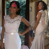 Wholesale 2016 Cheap Sexy Lace Floor Length Bridesmaid Dresses Black Girls Satin Mermaid Sash Wedding Party Formal Prom Evening Dresses