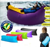 Wholesale Lamzac Hangout Fast Inflatable Nylon Air Sofa Camping pillow Bed Sleeping Beach Lounger LayBag Lazy Chair plastic incerts Children