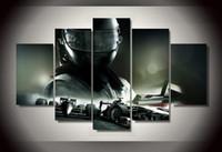 Marcos de carreras España-5Pcs con cuadro impreso enmarcado del coche de competición f1 Cuadro de la pared de la pared del arte del sitio de la impresión de la impresión del cartel de la impresión de la lona listo para colgar la lona