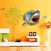 Wholesale PVC D Visual Effects Shark Wall Art Stickers Decor Home Decoration Size cm cm DIY Design Reflects The Personality