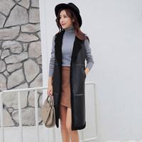 Wholesale 2016 Winter Warm Flocking Long Vests For Women Fashion Large lapel Sleeveless Plus velvet thicker pu leather Outerwear Coats Waistcoat