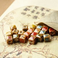 Wholesale 5 colors option cube shape chinese style cute ceramic bead porcelain bead for jewelry and bracelet making
