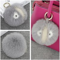 pvc plastic pom poms - 12CM quot Genuine Fox Fur Ball Pom Mink Fur Monster Face Car Keychain Bag Charm