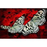 antique silk embroidery - diamond embroidery science d diamond painting cross stitch Butterfly lying on red silk diamond painting X26cm HWB