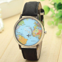 Wholesale 2016 brand women watch high quality New Global Travel By Plane Map Women Dress Watch Denim Fabric Band Jack