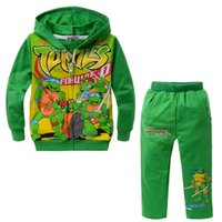 Wholesale Spring Autumn Children Clothing Cartoon Ninja Turtles Baby Boys Girls Coat Kids Pants Clothes Outwear Piece Set
