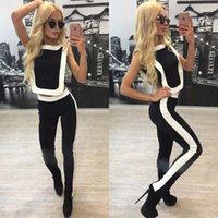 Wholesale 2016 Women Piece Set Summer Sport Black Patch White Short Top Long Pants Tracksuit Set Sport Suit