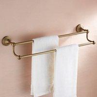antique shelf - European copper toilet towel rack antique copper bathroom towel bar double towel hanging double shelf