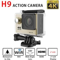 Wholesale Ultra HD K Waterproof WiFi Action Camera SJ4000 Style H9 Sports Camera Screen P fps Helmet Camcorder M Diving Video Camera